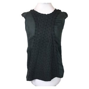 Marc Jacobs Sz 2 Black embroidered cap sleeve top